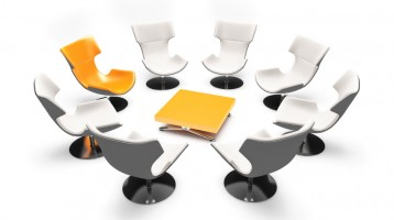 3d of informal meeting with orange chairs